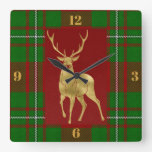 Golden Stag Macgregor Red Green Plaid Square Wall Clock