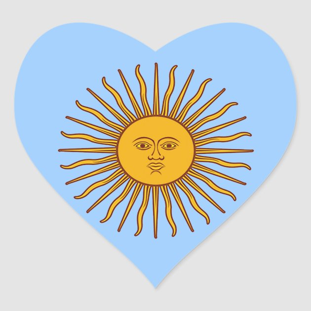 Golden Sun Of May Argentina Flag Heart Stickers