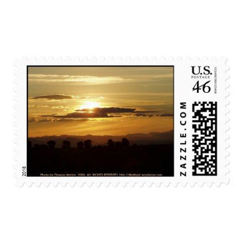 golden sunset stamp