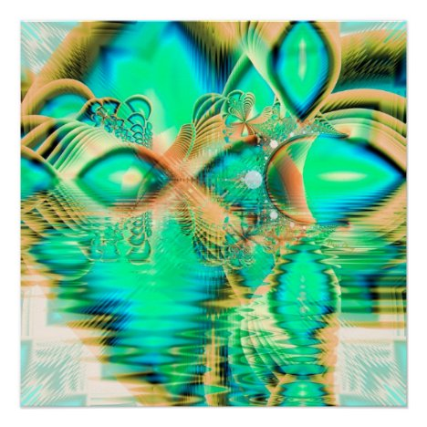 Golden Teal Peacock, Abstract Copper Crystal Poster