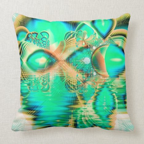 Golden Teal Peacock, Abstract Copper Crystal Throw Pillow