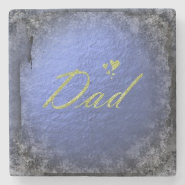 golden text dad stone coaster