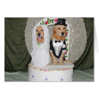Golden Wedding Couple Atop the Cake Card