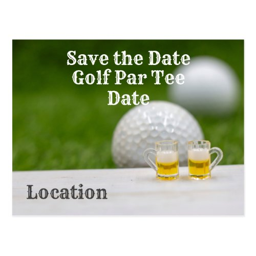 Golf ball with two glasses of beer on green grass postcard