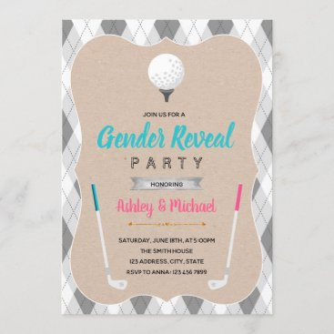 Golf gender reveal theme invitation