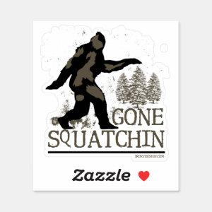 Gone Squatchin Sasquatch Contour Cut Sticker