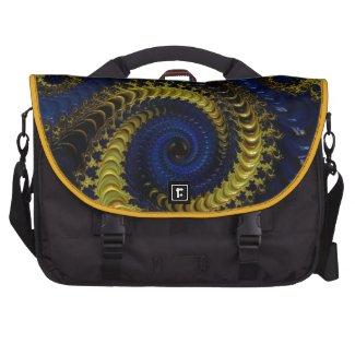 Gorgeous Deep Blue and Golden Yellow Fractal Commuter Bags