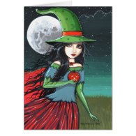 Gothic Halloween Witch Card by Molly Harrison