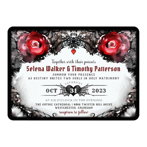 Gothic Red Roses and Spiders Halloween Wedding Invitation
