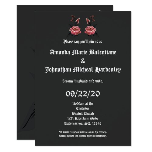 Gothic Rose Butterfly Wedding Invitations