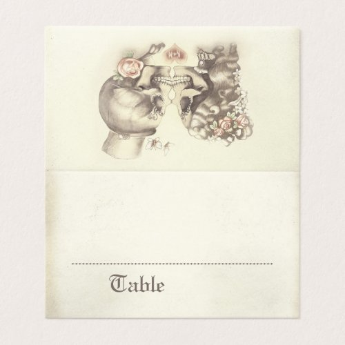 Gothic Skeleton Couple Pink Floral Name Place Card