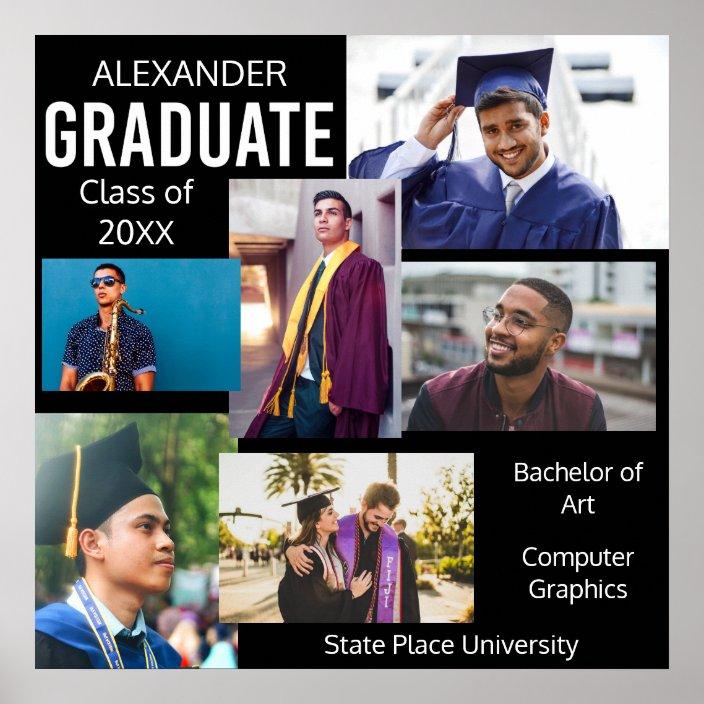 graduate class of college photo collage 4 black poster zazzle com