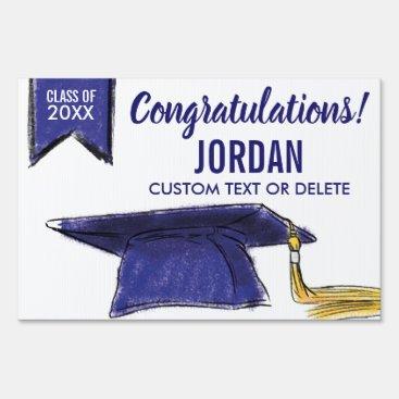Graduation Class 2018 Congrats Blue Grad Cap Sign