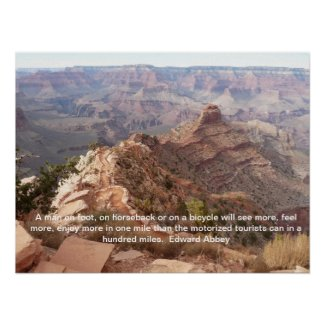 Grand Canyon poster with Edward Abbey quote print