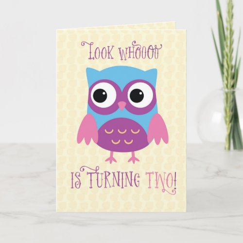 Granddaughter 2nd Birthday, Owl, Pink, Purple Card