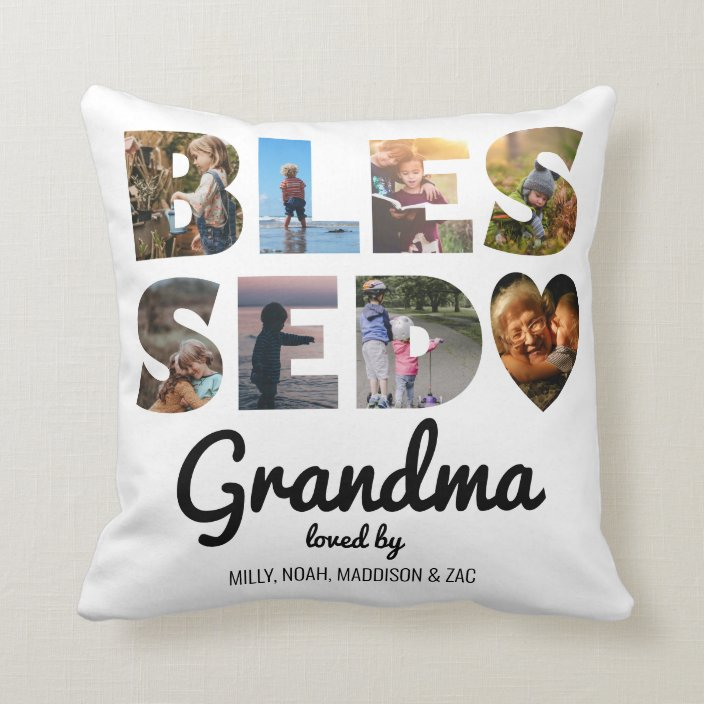 grandma blessed photo collage personalized throw pillow zazzle com