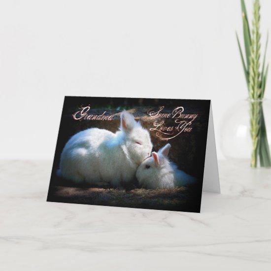 Grandma Kissing Bunnies Happy Birthday Greeting Cards