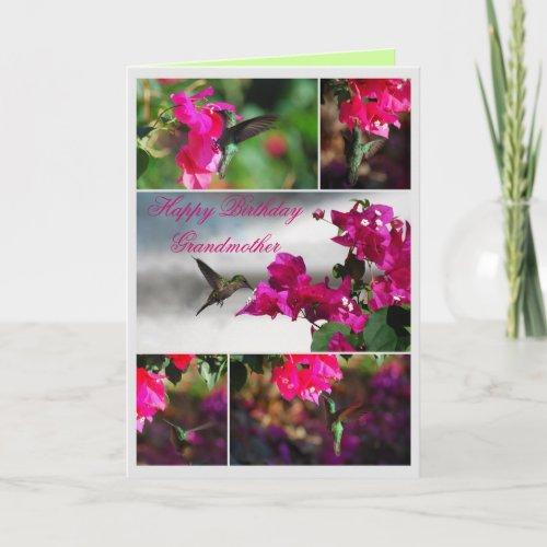 Grandmother Happy Birthday Hummingbird card
