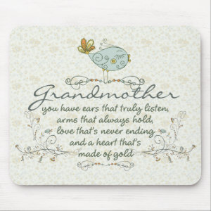 Grandmother Poem with Birds Mouse Pad