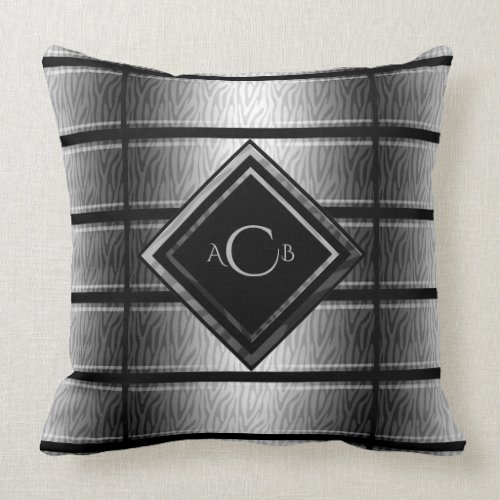 Gray and Black Zebra Monogram Throw Pillow