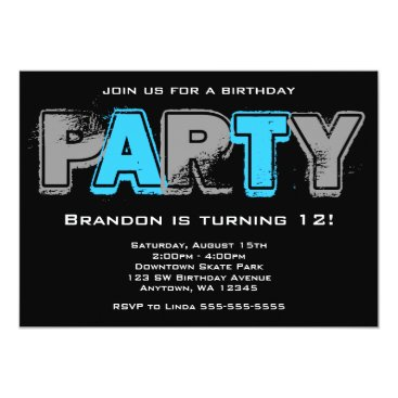 Gray and Blue Grunge Birthday Party Card