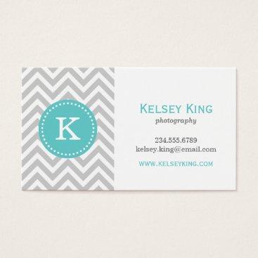Gray and Turquoise Chevron Custom Monogram Business Card