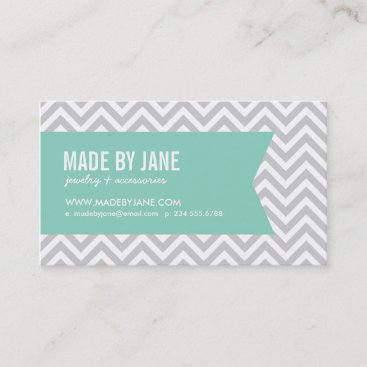 Gray & Aqua Modern Chevron & Ribbon Business Card