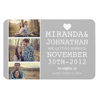 Gray Bold Photo Strip Save The Date Magnet