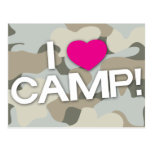 Gray Camo I LOVE CAMP! Postcard