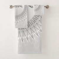 Gray Dolphin Mandala Bath Towel Set