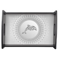 Gray Dolphin Mandala Serving Tray