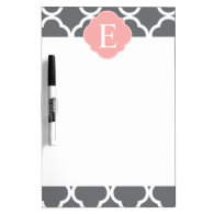 Gray Grey Peach Quatrefoil Monogram Dry-Erase Whiteboard