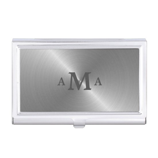 Gray on Silver Monogram Business Card Case