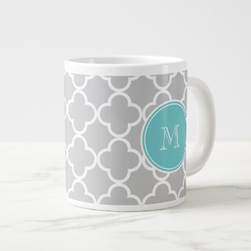 Gray Quatrefoil Pattern, Teal Monogram Giant Coffee Mug