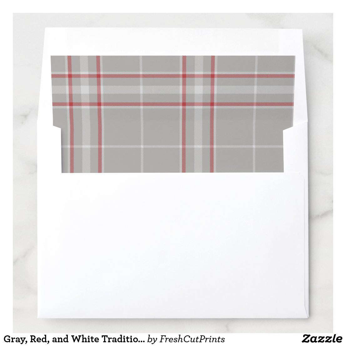 Gray, Red, and White Traditional Tartan Plaid Envelope Liner