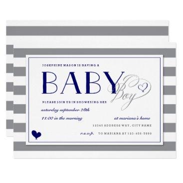 Gray Stripe Baby Boy Shower and Navy Blue Invitation