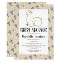 Gray & Taupe Llama & Cactus Baby Shower Card