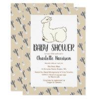 Gray & Taupe Llama & Cactus Baby Shower Card