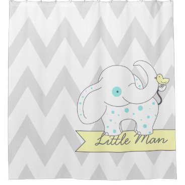 Gray & White Chevron with Blue Polka-dots Elephant Shower Curtain
