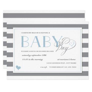 Gray & White Stripe Light Blue Boys Baby Shower Card