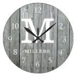 Gray Wood Farmhouse Monogram Large Clock