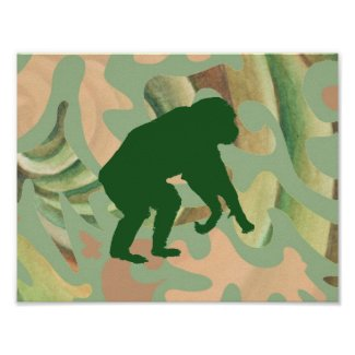 Green Abstract Chimpanzee Art Poster
