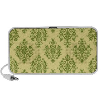 Green and Black Damask Patterned Speaker System