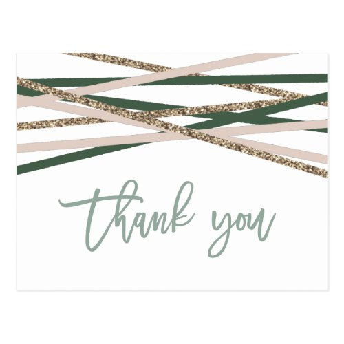Green and Blush Streamers Thank You Postcard
