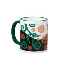 Green and orange Art nouveau floral mug mug