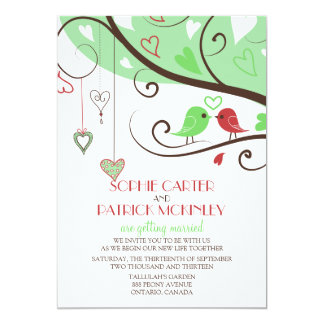 Green and Red Lovebirds Wedding Invitation
