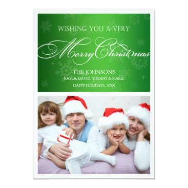 Green and White Holiday Photo Cards