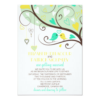 Green and Yellow Love Birds Wedding Invitation