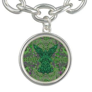 Green Angel Art Round Charm Silver Chain Bracelet