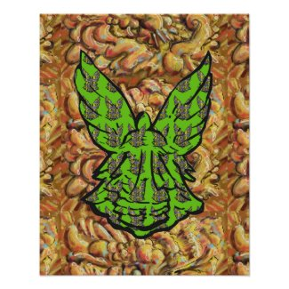Green Angel On Gold Background-Shiny Abstract Gold Poster